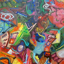"""Jonone 1992 """"Poetry Of Colors"""" 130 X 112 Cm   Copie"""