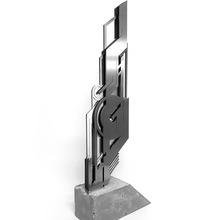4.Xavier Magaldi Concrete Thoughts, Sculpture 402, Version 1 , 65cm De Hauteur , Acier Inox , Socle En Béton , 2016